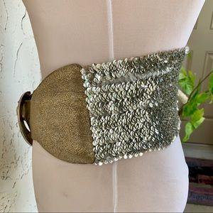Accessories - 70s Vintage Wide Silver Sequin Gold Lame Belt